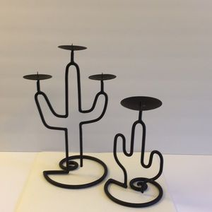 Set of two Metal Cactus Candle Stick Holders